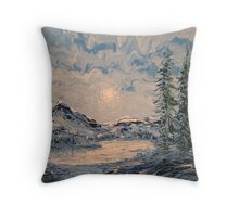 Lake Sunrise FingerPainting Throw Pillow
