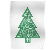 Christmas Tree Icons Poster