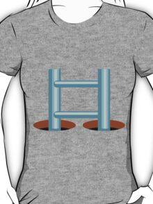 Glitch Land Tower Quest ladder tile cap 1 blue T-Shirt