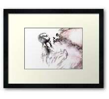 Shadowtwister, reflections conté drawing - textured Framed Print
