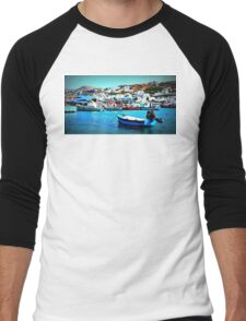Feeling Nostalgic On The Water In Mykonos, Greece Men's Baseball ¾ T-Shirt
