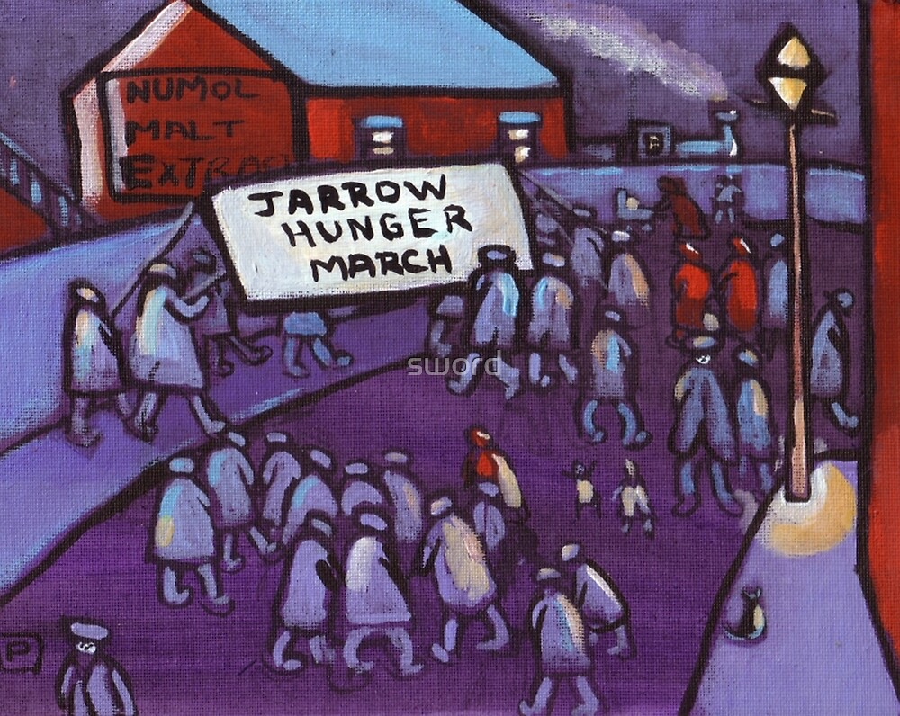 Jarrow hunger march (from my original acrylic painting ) by sword