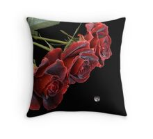 Three Red Roses with Waterdrop Throw Pillow