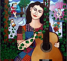Violeta Parra and the song Back at 17  throw pillow or tote bag by Madalena Lobao-Tello