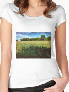 Green wheat field Women's Fitted Scoop T-Shirt