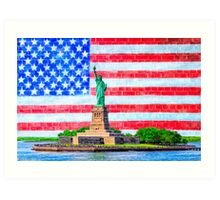 Lady Liberty And The American Flag Art Print