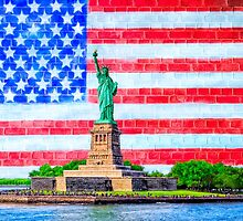 Lady Liberty And The American Flag by Mark Tisdale