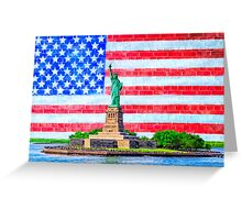 Lady Liberty And The American Flag Greeting Card