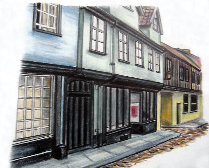 My drawing of Elm Hill, Norwich by benni6634