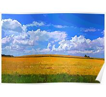 Wheat field in vivid colors Poster