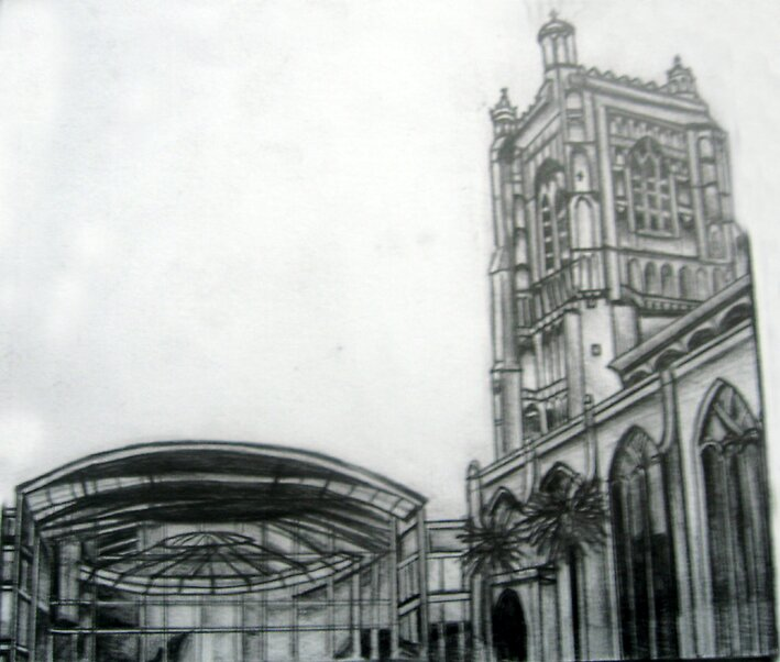 My drawing of The Forum Library and St Peter Mancroft church, Norwich by benni6634