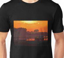 Boat in dramatic sunset Unisex T-Shirt