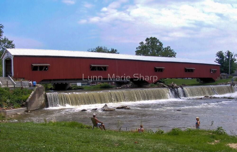 Bridgeton Covered Bridge and Waterfall by Marie Sharp