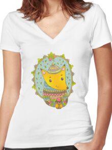 Winter fox Women's Fitted V-Neck T-Shirt