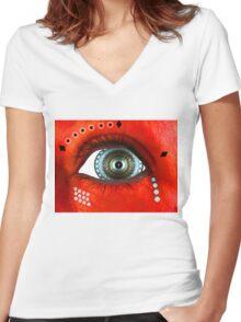 Hypnotic eye Women's Fitted V-Neck T-Shirt