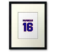 National Hockey player Justin Papineau jersey 16 Framed Print