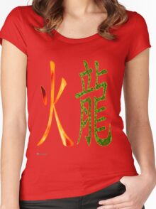 Fire Dragon   1916 and 1976 Women's Fitted Scoop T-Shirt