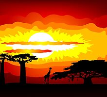 Africa sunset by siloto