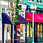 Roanoke VA Street With Restaurant by Susan Savad