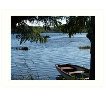 Rowing boat moored on the banks of Lough Eske, County Donegal, Ireland. Art Print