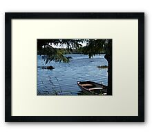 Rowing boat moored on the banks of Lough Eske, County Donegal, Ireland. Framed Print
