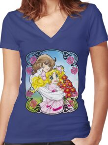 Candy & Terence Women's Fitted V-Neck T-Shirt