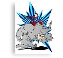 Spider-man riding Rhino Canvas Print