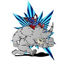 Spider-man riding Rhino Photographic Print