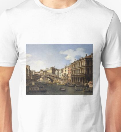 Canaletto - The Rialto Bridge, Venice, From The South With The Embarkation Of The Prince Of Saxony During His Visit In 1740 Unisex T-Shirt