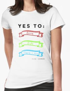 Love, Life, and Staying In More Womens Fitted T-Shirt