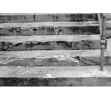 Black and White old concrete stone steps Photographic Print