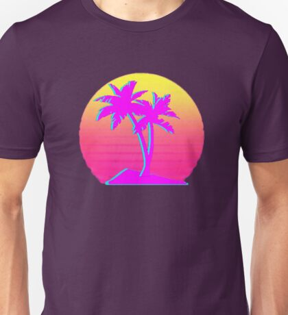 Retro Palm Trees with Sun Unisex T-Shirt