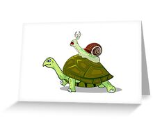 Frightened Snail Hitches a Ride Greeting Card