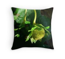 Green Strawberry Throw Pillow