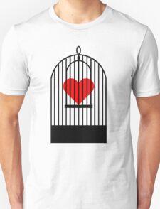 "Cage Heart or ""Coronary Canary"" (Black) T-Shirt"