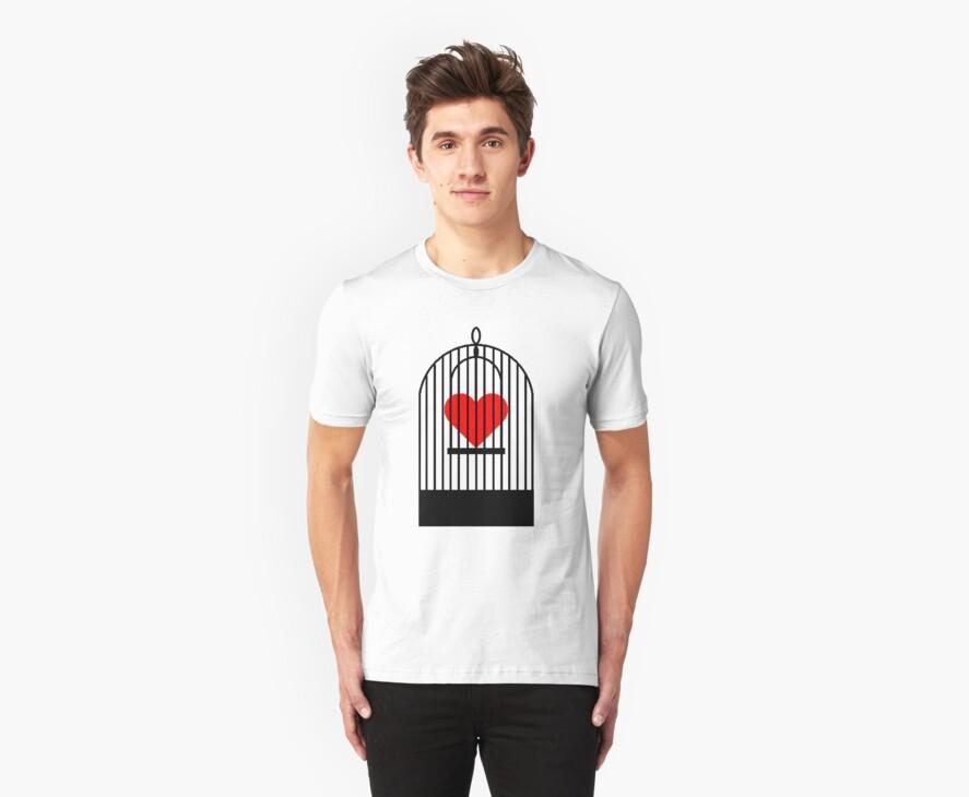 """Cage Heart or """"Coronary Canary"""" (Black) by rufflesal"""