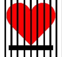 "Cage Heart or ""Coronary Canary"" (Black) Sticker"