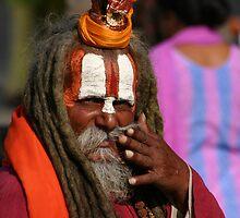 Holy sadhu man in Kathmandu, Nepal... by Nicolai Bangsgaard