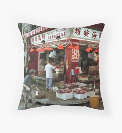 Street market Hong Kong Throw Pillow