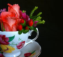 Teacup with Flowers by Martie Venter