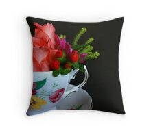 Teacup with Flowers Throw Pillow