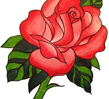 Traitional Tattoo Rose  by Jess Evans-Equeall