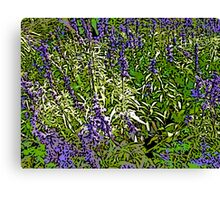 Comic Abstract Purple Flowers Canvas Print