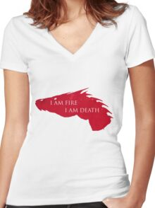 I am Fire I am Death Women's Fitted V-Neck T-Shirt