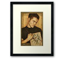 Self-Portrait with Narcissus Flower Framed Print