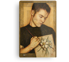 Self-Portrait with Narcissus Flower Metal Print
