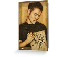 Self-Portrait with Narcissus Flower Greeting Card