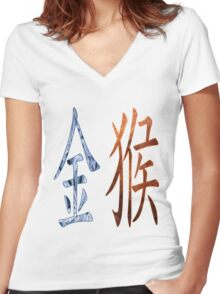 Metal Monkey  1920 and 1980 Women's Fitted V-Neck T-Shirt
