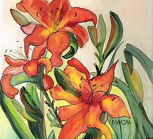 Orange Lilies by Marsha Woods