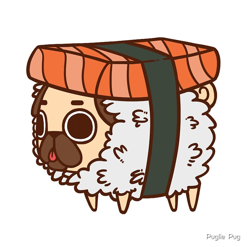 Quot Puglie Sushi Quot Throw Pillows By Puglie Pug Redbubble